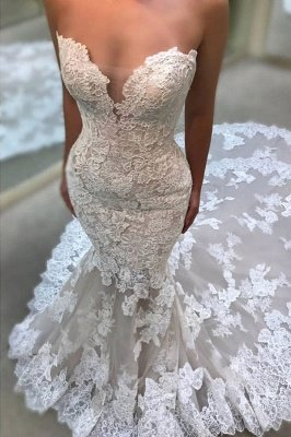 Glamorous Sweetheart Wedding Dresses | Lace Appliques Sleeveless Bridal Gowns_3