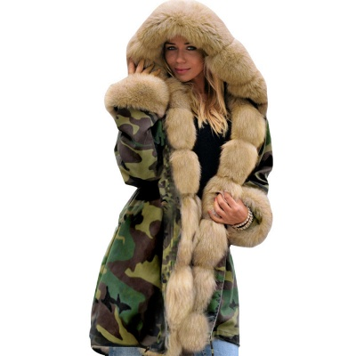 Camo Military Premium Fur Trim Parka Coat with Faux Fur Hood_30
