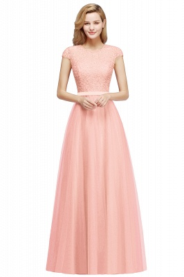 Cheap A-line Jewel Tulle Lace Bridesmaid Dress in Stock_1
