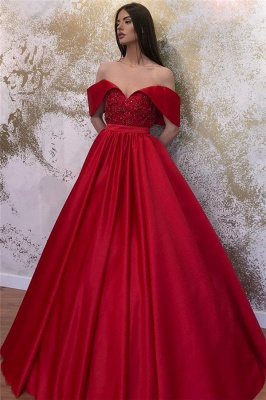 Off-the-shoulder Sweetheart Belted A-line Puffy Prom Dresses_3