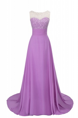 Cheap Grape A-line Sleeveless Sweep Train Prom Dress_3
