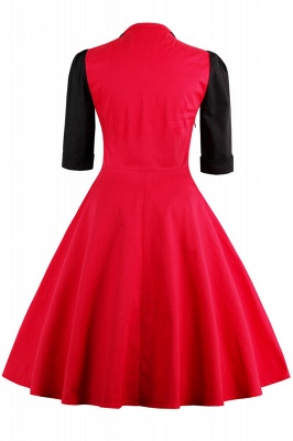 1/2 Sleeve 1950S Red and Black Retro Dress_3