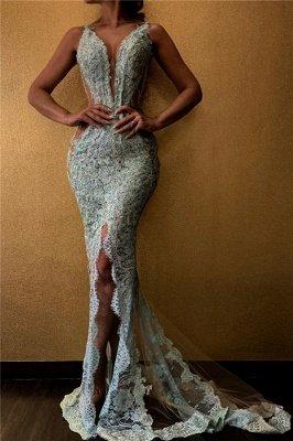 Spaghetti Straps Deep V-neck Front Slit Lace Mermaid Prom Dresses_1