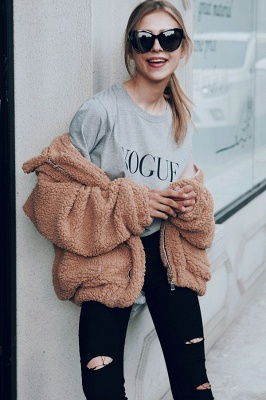 Oversize Fuzzy Jacket in Brown with Zipper_28