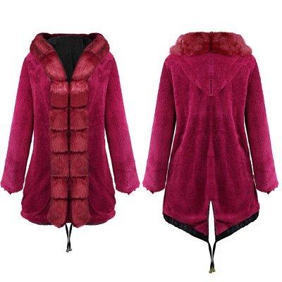Premium Fur Trimmed Parka Coat with Faux Fur Hood_13