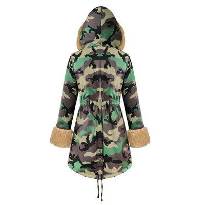 Camo Military Premium Fur Trim Parka Coat with Faux Fur Hood_36