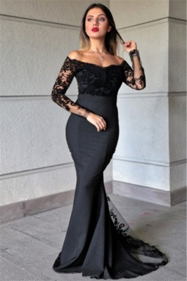 Off the Shoulder  Long Sleeves Lace Mermaid Prom Dresses_1