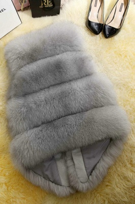 Grey Collarless Layered Fox Fur Gilet_6