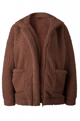 Oversize Fuzzy Jacket in Brown with Zipper_9