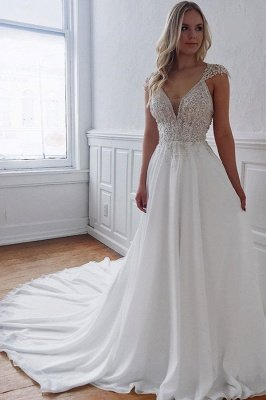 Glamorous Straps Beaded Appliques A-Line Wedding Dresses_1