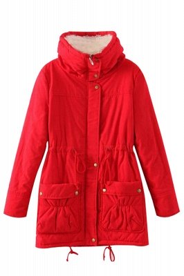 Women's Fashion Hunt Lamb Wool Collar Parka Coat_23