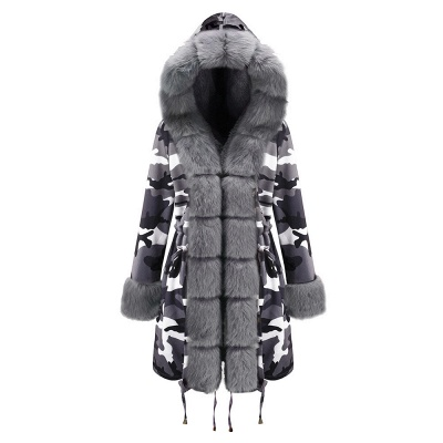Camo Military Fur Lined Parka Coat with Faux Fur Hood_26