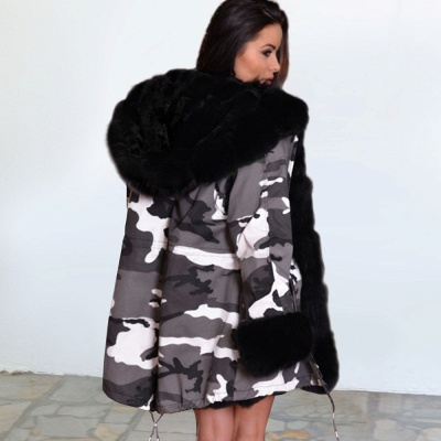 Camo Military Fur Lined Parka Coat with Faux Fur Hood_9