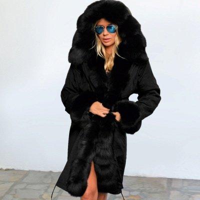 Premium Fur Trimmed Parka Coat with Faux Fur Hood_37