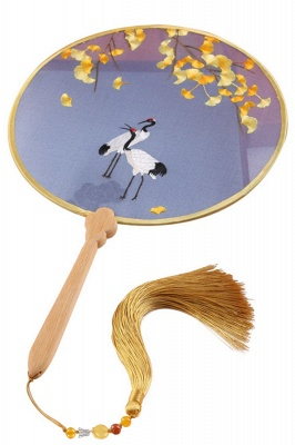 Red-Crowned Crane Hand-Embroidered Chinese Traditional Round Fan