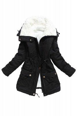 Women's Fashion Hunt Lamb Wool Collar Parka Coat_4
