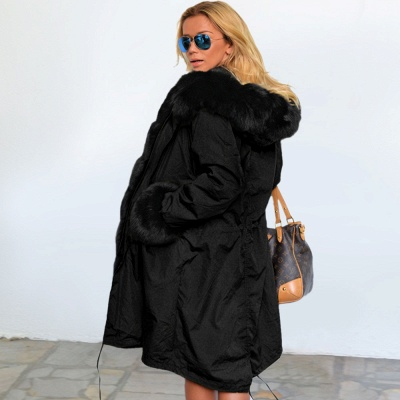 Premium Fur Trimmed Parka Coat with Faux Fur Hood_35
