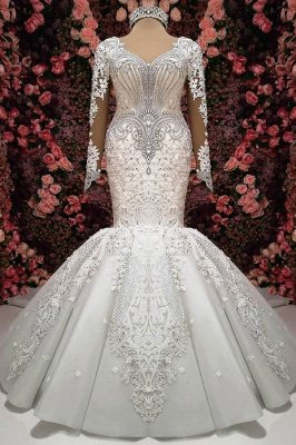 Charming Crystals Mermaid Bridal Gowns  | Long Sleeves Chapel Train Wedding Dresses_2