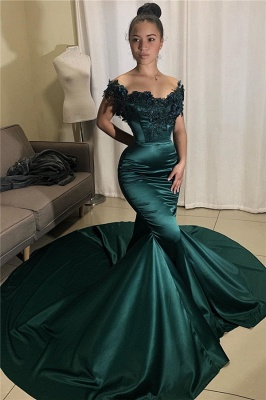 Glamorous Off-the-shoulder Appliques Mermaid Prom Dresses_1
