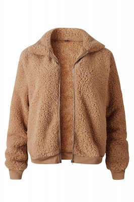 Thick Oversized Faux Shearling Coat with Zipper_5