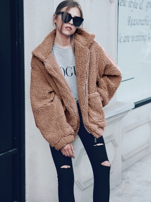 Oversize Fuzzy Jacket in Brown with Zipper_19