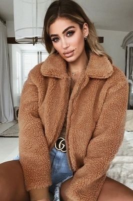 Thick Oversized Faux Shearling Coat with Zipper