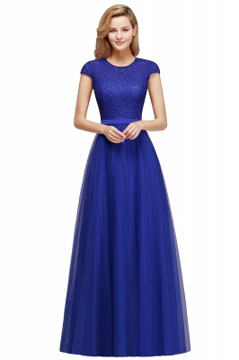Cheap A-line Jewel Tulle Lace Bridesmaid Dress in Stock_3