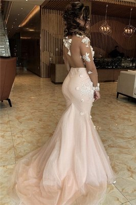 Sheer Long Sleeves Appliques Mermaid Lace Prom Dresses | Elegant Trumpet Formal Dresses with Flowers_2