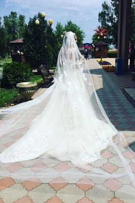 Glamorous  Long Sleeves Mermaid Lace Wedding Dresses   Scoop Appliques Detachable Skirt Bridal Gowns_3