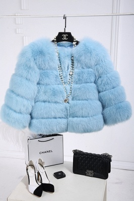 Tiered Fox Fur Coat with Full Fur Collar and Cuffs_35