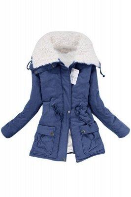 Women's Fashion Hunt Lamb Wool Collar Parka Coat_3