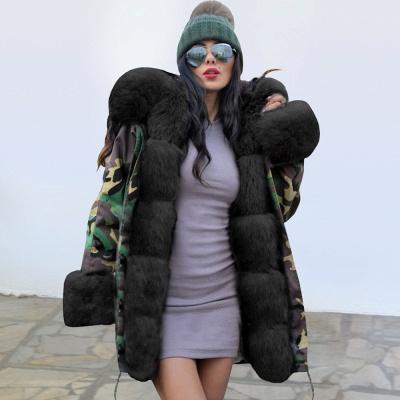 Camo Military Premium Fur Trim Parka Coat with Faux Fur Hood_3