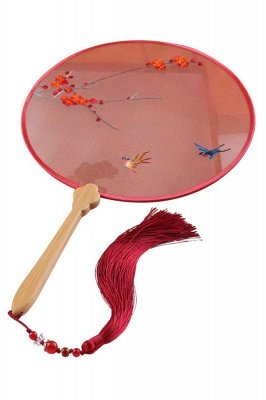 Retro Double-Sided Hand-Stitched Decoration Chinese Circular Fan With Tassel Pendant