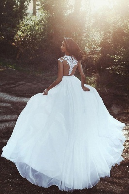 Sleeveless A-line Chiffon Wedding Dresses | Lace Appliques Slit Bridal Gowns_2