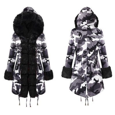 Camo Military Fur Lined Parka Coat with Faux Fur Hood_17