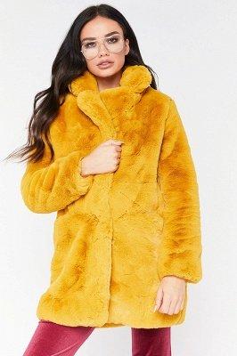 Yellow Stick Up Neckline Medium Long Fuzzy Coat_11