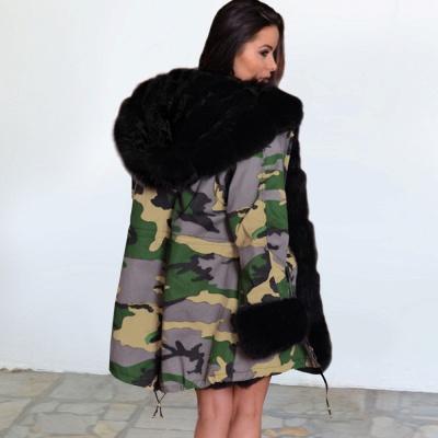 Camo Military Premium Fur Trim Parka Coat with Faux Fur Hood_9