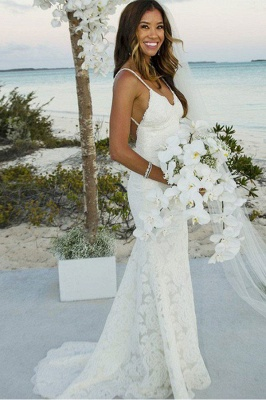Spaghetti Straps Sweep Train Lace Sleeveless Sexy Mermaid Wedding Dresses_2