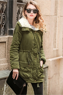 Women's Fashion Hunt Lamb Wool Collar Parka Coat