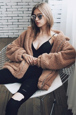Oversize Fuzzy Jacket in Brown with Zipper_20