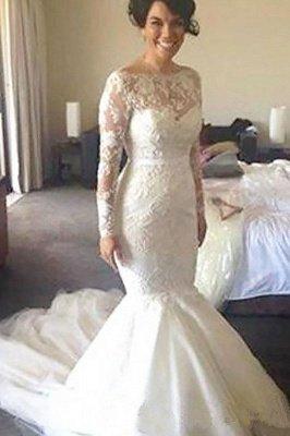 Glamorous Long Sleeves Lace Mermaid Wedding Dresses_2