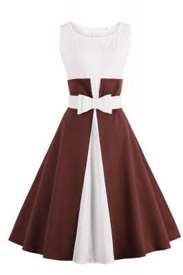 1950S Belted Brown and White Patchwork Retro Dress_2
