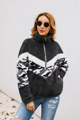 Womens Fuzzy  Halp Zip Fleece Winter Sherpa Sweaters Pullovers