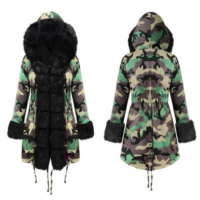 Camo Military Premium Fur Trim Parka Coat with Faux Fur Hood_16