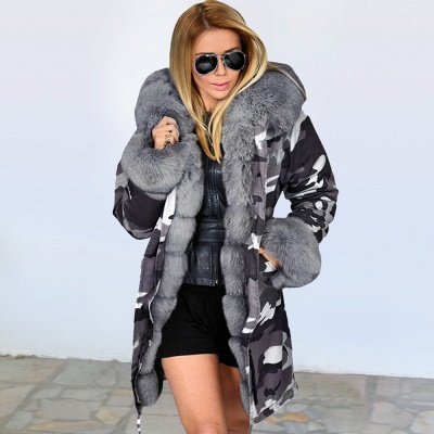 Camo Military Fur Lined Parka Coat with Faux Fur Hood_3