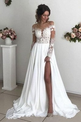 Exquisite A-Line Chiffon Lace See Through Neck Long Sleeves Wedding Dresses