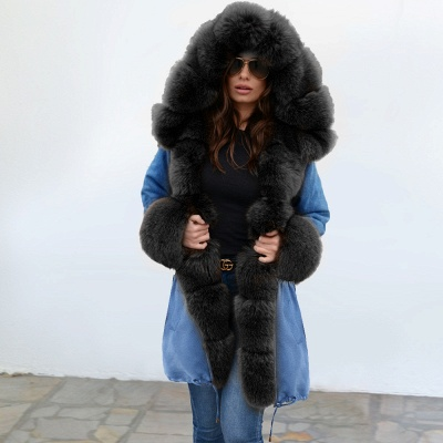 Parka Coat with Premium Fur Trim and Faux Fur Hood_11