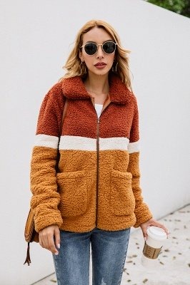 Women's Winter Multi Color Patchwork Faux Shearling Coat