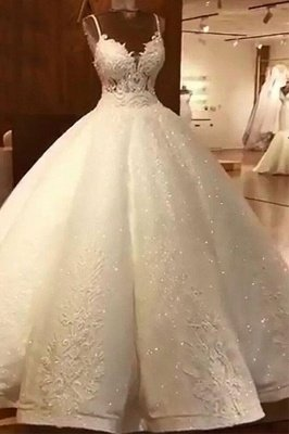 Stunning Ball Gown Wedding Dresses   Spaghetti Straps Lace Bridal Gown_1