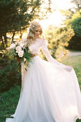 A-Line Chiffon Lace Two-Pieces Long Sleevess High Neck Wedding Dress_3